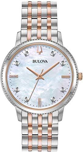 Bulova 98P178 8 Diamonds White MOP Dial Rose Gold Two Tone Womens Watch