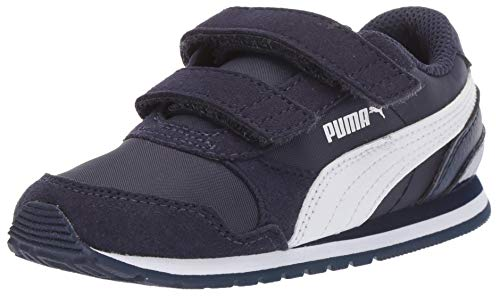 (PUMA Unisex ST Runner Velcro Sneaker, Peacoat White, 13 M US Little Kid)