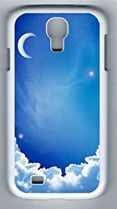 Cloud moon PC Case Cover for Samsung Galaxy S4 and Samsung Galaxy I9500 White
