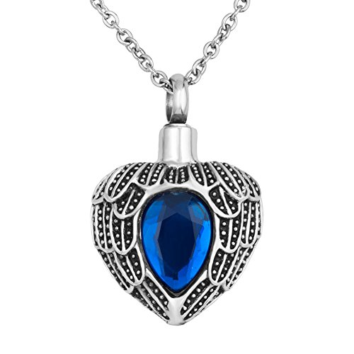 Heart of Charms Heart Love Angel Wing Urn Necklace for Human Pet Cremation Jewelry Keepsake Memorial Necklace for Ashes Holder (Sep-blue)
