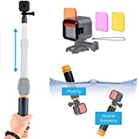 Watersports and Diving Bundle for GoPro HERO5 / 4 Session Camera including Modular Waterproof Telescopic Pole / Floating Hand Grip in one (6.7 to 15.7) and Diving Lens Filter Kit - Enhances Colors