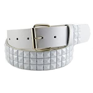 Nice Shades White Genuine Leather Snap On Punk Studded Belt w/ Detatchable Buckle Large (38-40)