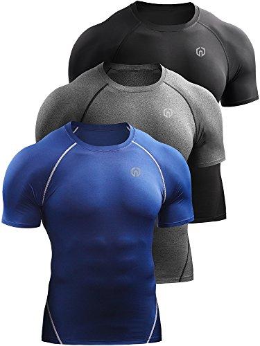 Neleus Men's 3 Pack Compression Baselayer Athletic Workout T Shirts,5022,Black,Grey,Blue,US XL,EU 2XL