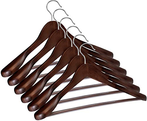 (Utopia Home Premium Quality Wooden Hangers - Suit - Coat Hangers - Set of Wooden Hangers - Pack of 6 - Retro)