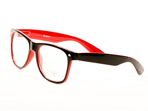 Goson Vintage Hipster Nerd Unisex Classic Retro 80' Clear Lens Red Black two tone Frame/Clear Lens Wayfarer 57 mm - Glasses Hipster Red