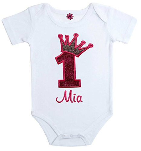 Birthday Girl Personalized Embroidered Sparkling First Birthday Onesie Bodysuit with Your Custom Name and Princess Crown (12 Months, Pink)