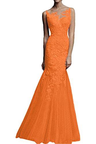 Orange Braut Formal lang Brautmutterkleider Abendkleider Hundkragen La mia Etuikleider Dunkel Festlichkleider Spitze Rot fxn5wRq71