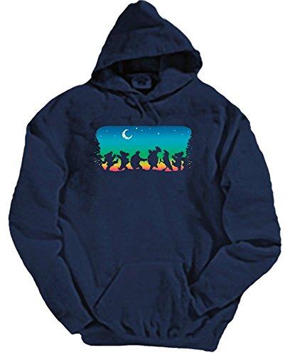 Blue Mountain Dyes LLC Grateful Dead Hooded Sweat Shirt Moondance (Medium) Navy Blue