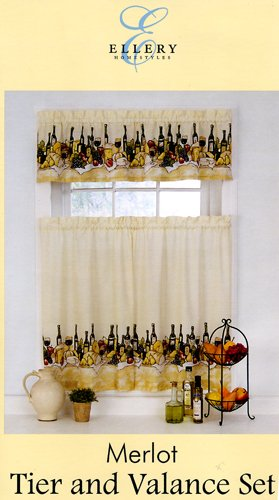 Ellery Homestyles Merlot Wine Theme Kitchen Tier & Valance Set ()