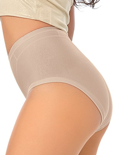 Leonisa Women's High Cut Panty Shaper in Cotton, Nude, XL