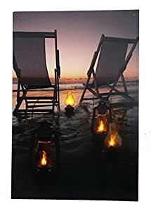 beach scene at night light up canvas print with led lights beach wall decor. Black Bedroom Furniture Sets. Home Design Ideas