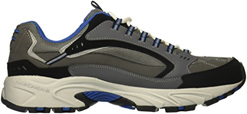 Skechers Sport Hommes Stamina Nuovo Cutback Lacets Sneaker Charbon De Bois / Bleu