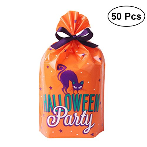50pcs Halloween Treat Bags Party Bags Plastic Trick Or Treat Gift Storage Bag Cookie Candy Bread Packaging Bags (Orange) -