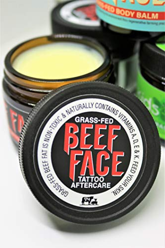 Beef Face Tattoo Aftercare, Feed your tattoo using skin food from our 100% grass-fed beef fat that naturally contains vitamins A, D, E & K]()