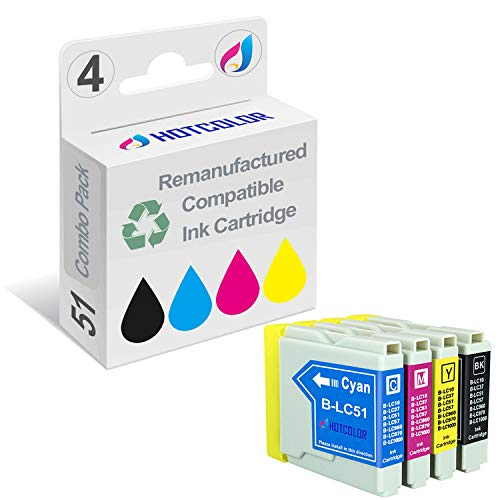 Fax2480c Inkjet Printers - HOTCOLOR LC-51 LC51BK LC51C LC51M LC51Y 4Pack Compatible Ink Cartridges for Brother DCP-130C 330C 350C 540CN 560CN MFC-230C 240C 440CN 465CN 665CW 685CW 845CW 885CW 3360C 5460CN 5860CN Printer