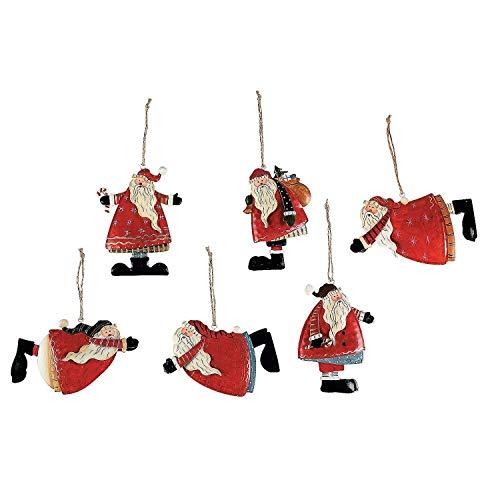 Set of 6 Painted Tin Santa Folk Decoration Christmas Ornaments