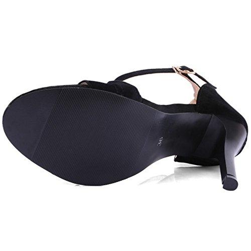 Caviglia A Tacco Eleganti Taoffen Nere Scarpe Open Con Cinturino Spillo Alla Sandali Alto Toe WWnBIqA