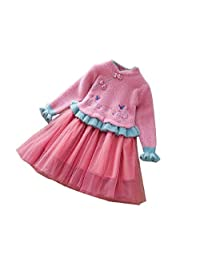 XT-RENM Girl's Autumn Winter Chinese Style Long Sleeve Soft Party Dress