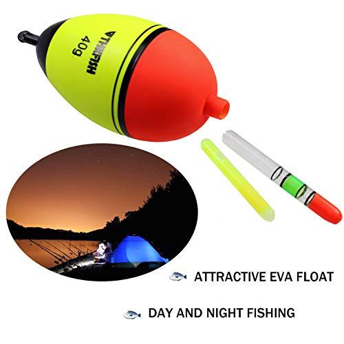 thkfish 5 Piece 30g EVA Floats +10pcs Glow Stick Fishing Floats Luminous Lighting EVA Foam Floats