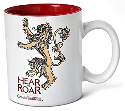 SD toys Taza Diseño Lannister Game of Thrones, cerámica, Blanco-Rojo, 9x12x11 cm