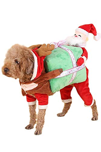 NEWCOS Funny Dogs Christmas Outfits Carrying Gift Box