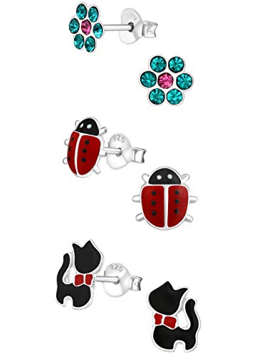 925 Sterling Silver Hypoallergenic Set of 3 Pairs Blue Crystal Flower, Red Lady Bug, Black Cat Stud Earrings for Girls and Womens (Nickel Free) 20509