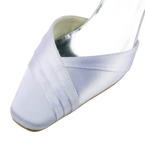 Square Mid Toe 7 Wedding Block ElegantPark US Women Ivory Bridal Satin EP11109 Heel Shoes AxIwUqE