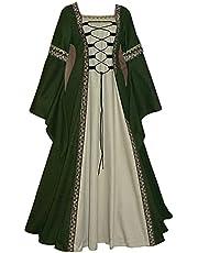 WXDSNH Damesjurk lange vierkante kraag lange mouwen trompetmouwen gothic retro medeival kostuum Halloween edele paleis jurken carnaval feest