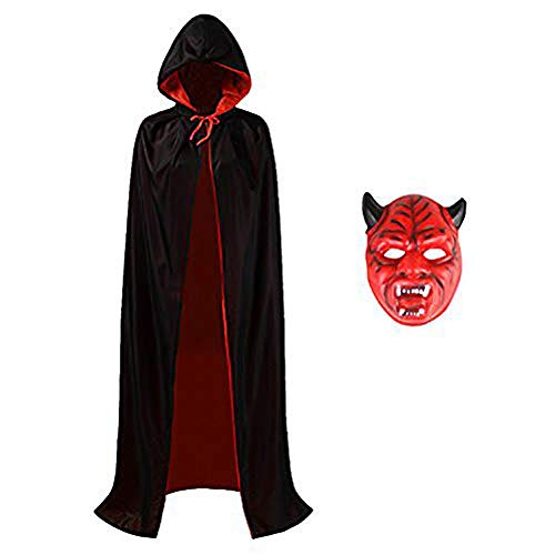 Halloween Costume Capes, Robe Cloak Shawl Halloween Party for Men and Women (S(115cm for kids), Black(2018)) -