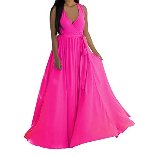 Alangbudu Women Deep V Neck Sleeveless Front Split Chiffon Maxi Flowy Dresses Hot ()