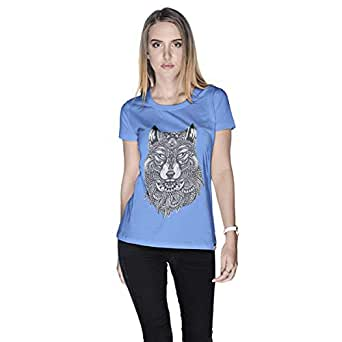 Creo Wolf Animal T-Shirt For Women - L, Blue