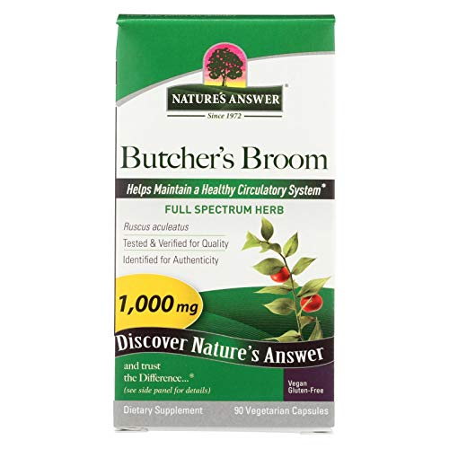 (Nature's Answer Butcher's Broom Root - 90 Vegetarian Capsules Dietary)