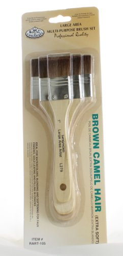 Wash Brush Set (Royal & Langnickel Large Area Artist Brush Set- Three Brown Camel Hair Brushes)