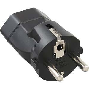 InLine - Clavija de contacto de toma de tierra (con adaptador de red para enchufe suizo), color negro