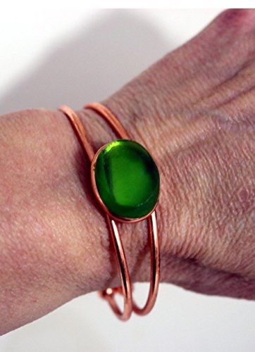 Emerald Green Recycled Glass Cuff Bracelet Slip On Copper Coated Adjustable (Recycled Bracelet Copper)