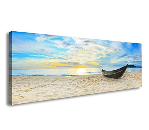 SkywardArt Sea Paintings Living Room Decor Abstract Artwork Canvas Print Paintings Wall Home D¨¦cor Office Gifts Art Ready to Hang (16inchx48inch, Beach Boat)