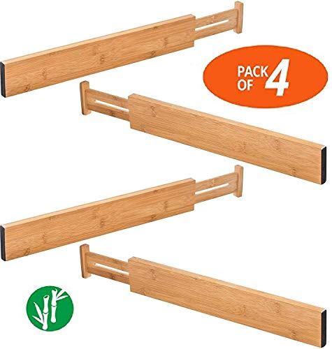TILEMALL Bamboo Kitchen Drawer Dividers Drawer Organizers Expandable Drawer Dividers Wood Desk Drawer Organizers, Tray Organizer for Kitchen, Baby Drawer, Bathroom, Bedroom, Office or -