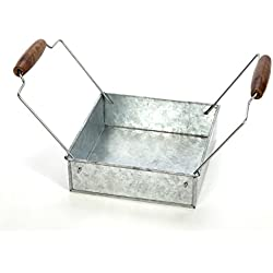 "Hosley's Galvanized Tray/Holder, w/Wooden Handles, 7"" Long. Ideal Gift for Party, House Warming; Use for Serving Ware and Napkins, Pillar/Votive / LED Garden, Home Office, Spa, Aromatherapy O3"