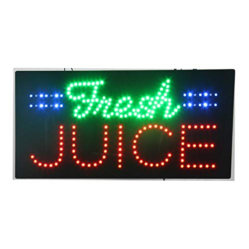 LED Juice Bar Open Light Sign Super Bright Electric Advertising Display Board for Bubble Boba Tea Smoothie Coffee Cafe Business Shop Store Window Bedroom Decor 24 x 12 inches ()