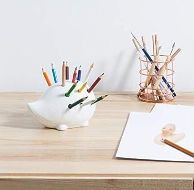 Mkono Hedgehog Pencil Holder Ceramic Lead Pencil Organizer for Home Office Desk Storage, White
