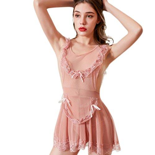 NewKelly Lingerie Women Babydoll Sleepwear Lace Bandage Dress-Underpant Set -