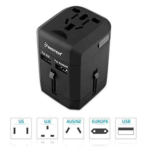 Insten Universal All in One Worldwide Travel Power Plug Wall AC Adapter Charger with Dual USB Charging Ports for US/EU/UK/AU, Black (2017 New Version)