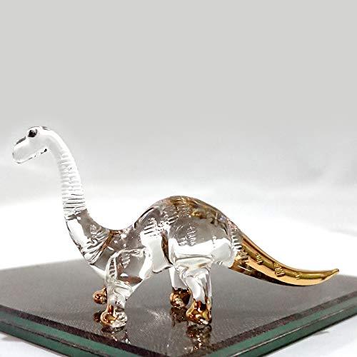 (Sansukjai Rare Apatosaurus Dinosaur Figurines Hand Blown Clear Glass Art 22K Gold Trim Animals Collectible Gift Home Decor)