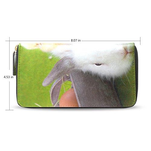 Womens Easter Eggs Rabbit Pattern Long Wallet & Purse Case Card Holder