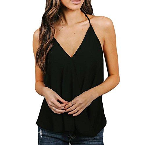 V Chemises Tops Gilet Dames Sexy Sling sans de S Soie XL Blouse Manches Chic ~ Shirts Mode Femmes Col Wolfleague Noir Mousseline Camisole T UxzqHPvT