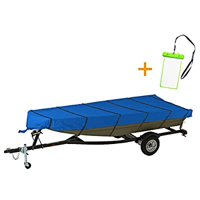 NEXTCOVER Water Proof Jon Boat Cover,trailerable, P.U Coated 300D Marine Grade Boat Cover.W/ free water proof phone case, NJB32C424,Various Sizes.