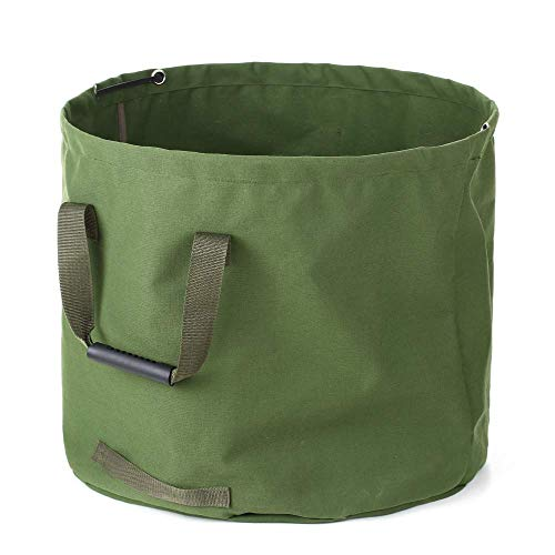 33 Gallon Garden Waste Bags Heavy Duty with Handles,Collapsible Green Leaf Bag with Military Canvas Fabric (H18 in, D22 in) ()