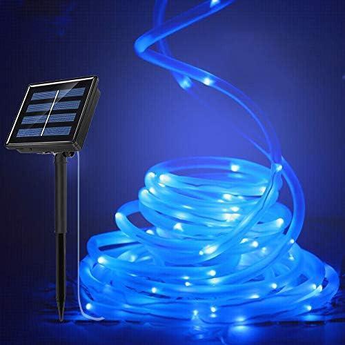 FOLUR Solar Rope Lights 8 Modes 200LED 66ft Solar Powered String Light Garden Decoration Outdoor Waterproof Christmas Lamp Wedding Party Decoration Tree Xmas Blue