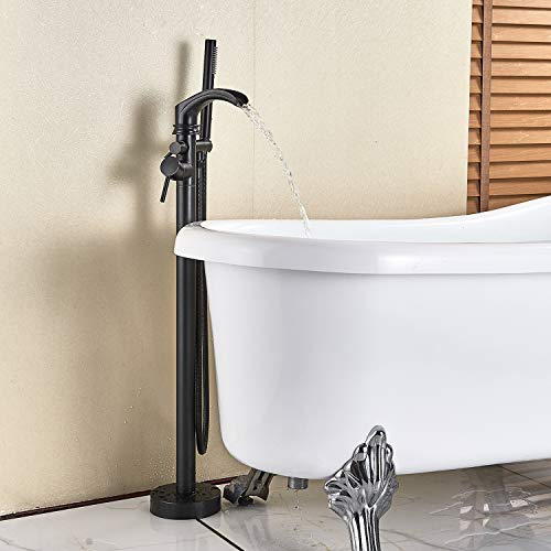 (Senlesen Freestanding Bathtub Shower Mixer Taps Floor Mounted Single Handle Clawfoot Tub Filler Shower Faucets with Hand Sprayer Oil Rubbed Bronze)