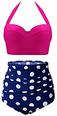 CHERRY CAT Vinatge Polka High Waisted Cute Bikinis Bathing Suits (Rose Red&Navy,S)